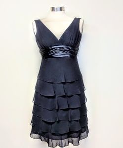 BCBG Silk Chiffon Ruffle Dress